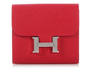 Hermès **SOLD ON AFF** Rouge Casaque Compact Constance Wallet