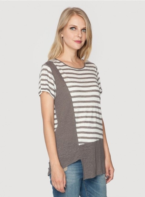 Johnny Was Linen Asymmetrical Scoop Neck Tunic