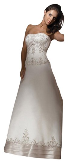 Allure Bridals Ivory Cafe Silver Satin 2029 Full Aline Strapless Traditional Wedding Dress Size 8 (M) Image 6