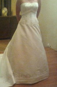 Allure Bridals Ivory Cafe Silver Satin 2029 Full Aline Strapless Traditional Wedding Dress Size 8 (M)