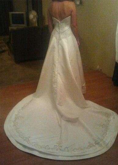 Allure Bridals Ivory Cafe Silver Satin 2029 Full Aline Strapless Traditional Wedding Dress Size 8 (M) Image 1