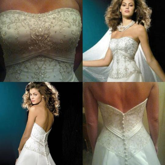 Allure Bridals Ivory Cafe Silver Satin 2029 Full Aline Strapless Traditional Wedding Dress Size 8 (M) Image 2