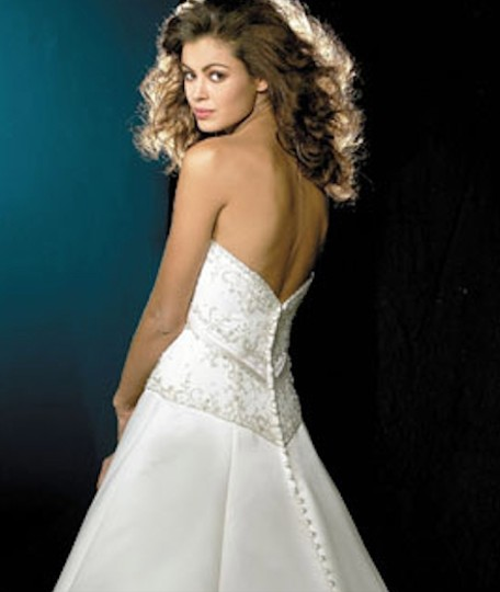 Allure Bridals Ivory Cafe Silver Satin 2029 Full Aline Strapless Traditional Wedding Dress Size 8 (M) Image 3