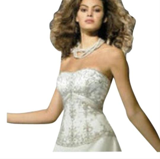 Allure Bridals Ivory Cafe Silver Satin 2029 Full Aline Strapless Traditional Wedding Dress Size 8 (M) Image 4