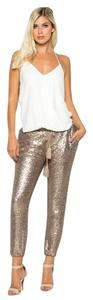 ZEMA Sequin Pencil Trouser Pants Rose Gold