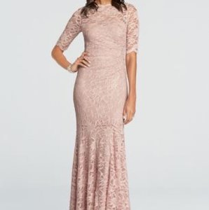 David's Bridal Tea Rose Lace Modest Bridesmaid/Mob Dress Size 10 (M)