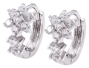 CZ Floral Studded Huggie Silver Rhodium Earrings