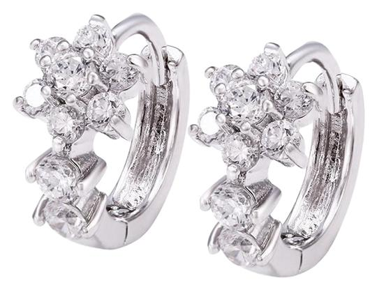 Preload https://img-static.tradesy.com/item/20098155/rhodium-silver-cubic-clear-stones-cz-floral-studded-huggie-earrings-0-1-540-540.jpg