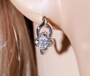 Other Openwork Cluster CZ Stone Hinge Elegant Silver Rhodium Earrings