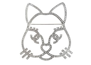 Chanel Silver Crystal Cat Brooch