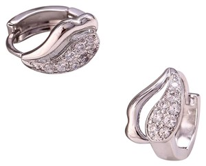 Other Rhodium Silver Cubic Zirconia Fancy Inlaid Huggie Earrings
