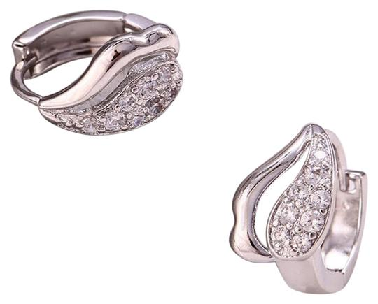 Other Rhodium Silver Cubic Zirconia Fancy Inlaid Huggie Earrings Image 0