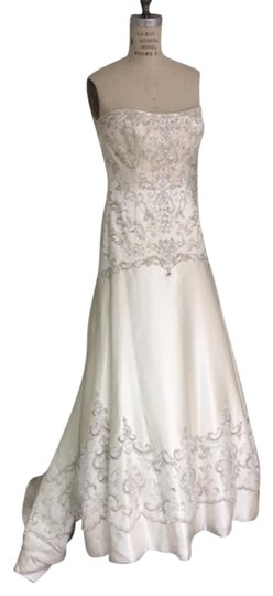 Mon Cheri Light Ivory Silver Beaded Satin Mermaid Low Back 1867 Strapless Drop Waist Sexy Wedding Dress Size 6 (S)