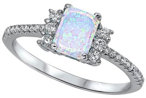 9.2.5 Stunning antique style opal and white sapphire cocktail ring size 7