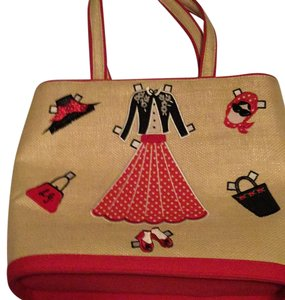 Lulu Guinness Beige & Red Tote Messenger Bag
