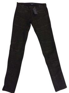 Ralph Lauren Blue Label Coated Moto Laces Zippered Skinny Jeans-Coated