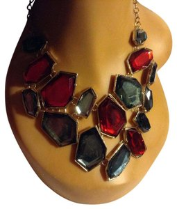 Other Asemetrical Shaped Glass Gold Tone Gray Burgundy Statement Necklace