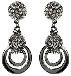 Amrita Singh Amrita Singh Gunmetal Crystal Panther Door Knocker Earrings Erc 9957