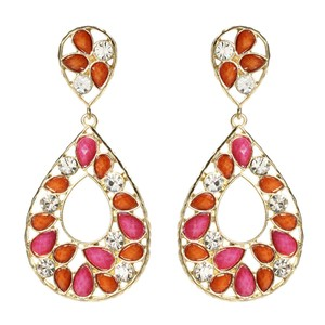 Amrita Singh Amrita Singh Hampton Gold Crystal Coral Fuschia Earrings Erc 4075