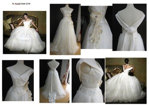 St. Pucchi Ivory Satin Taffeta Z230 Formal Wedding Dress Size 8 (M)