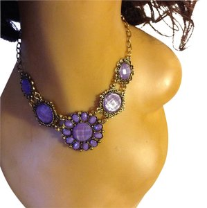 Lilac Flower Design Statement Necklace