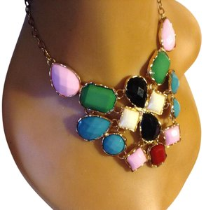 Other Pink/Turquoise/Black/Burgundy/Cream Asymmetrical Statement Necklace