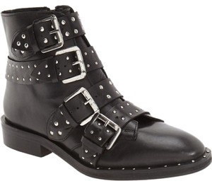 Topshop Amy Studded Moto Black Boots
