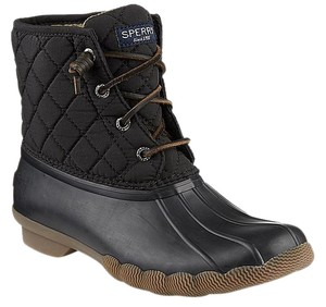 Sperry Womens Saltwater Duck Black Boots