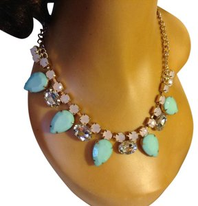 Multi, Cream, Lt Green, Clear Choker/ Statement Necklace