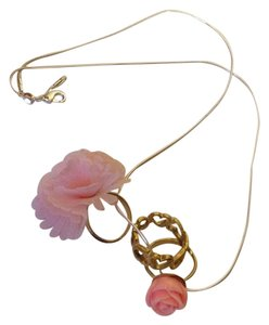 Gold Tone Pink, Ring and Flower Necklace