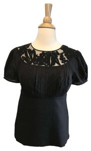 Catherine Malandrino Pleated Detailing Lace Trim Top Black