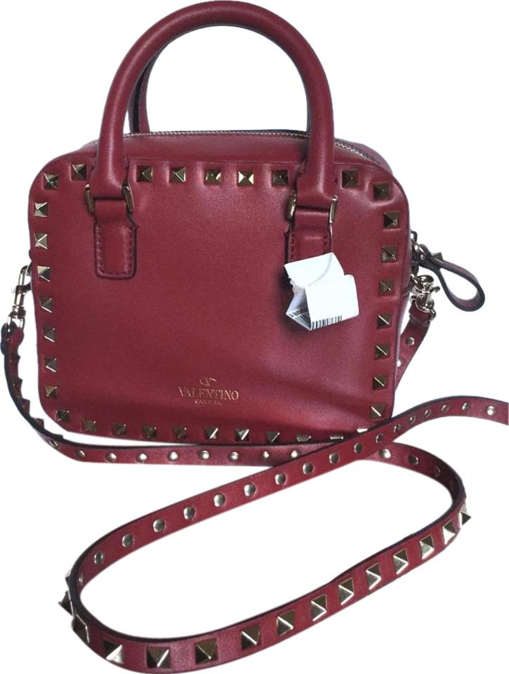 1977820d3e0a Valentino Signature Mini Rockstud Scarlet Red Leather Cross Body Bag ...