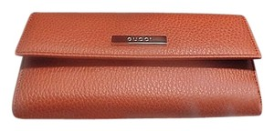 Gucci Gucci Saffron Dollar Calf Leather Slim Clutch Flap Wallet 143389