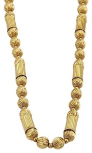 Vintage 14k Yellow Gold Fancy Fluted Beads Columns Long Necklace 31