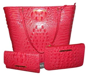 Brahmin Harrison Melbourne Leather Large Tote in Tulip -Pink Coral