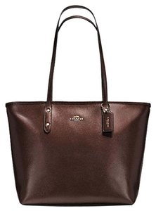 Coach Metallic Midnight City F56129 Crossgrain Leather Tote in Metallic Brown