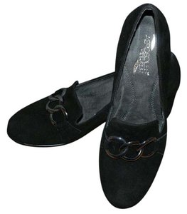 Aerosoles Leather Suede Chain Silver Hardware Classic Black Mules