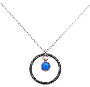 9.2.5 Unique rose gold silver black sapphire circle eye necklace