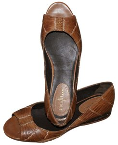 Cole Haan Leather Woven Brown Flats