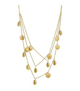 Tory Burch NWT TORY BURCH MARISOL MULTI-STRAND NECKLACE SAND DOLLAR BRASS