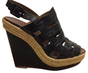 Christian Louboutin Black and natural trim Wedges
