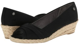 LifeStride Espadrille Canvas Wedge Black Wedges