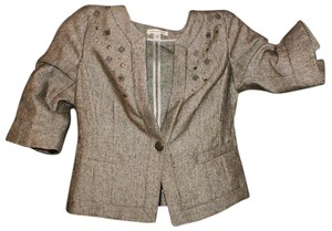 Coldwater Creek Tweed Embellished Embroidered Classic Brown Blazer
