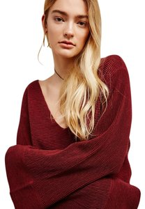 Free People Bell Sleeves Ribbed V-neck Sweater