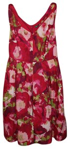 Emily and Fin short dress multi red pink white green Retro Soft Draped Pleated on Tradesy