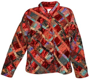 Coldwater Creek Asian Patchwork Retro Multi red blue black Jacket