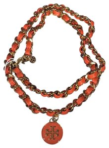 Tory Burch Tory Burch Leather and Chain Necklace