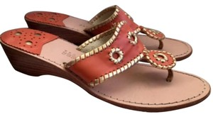 Jack Rogers Coral-ish orange and gold/tan lining Sandals