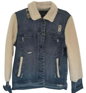 BlankNYC blue denim with faux shearling-like trim Womens Jean Jacket