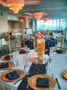 Pintuck Chair Sashes And Table Runners Navy Blue/champagne